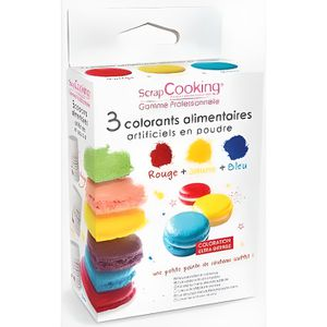 colorant alimentaire 3 colorants artificiels en poudre - Colorant Macaron