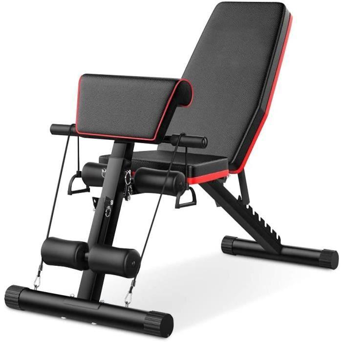 Tribesigns Banc de musculation pliable avec corde, réglable pour abdominaux, banc incliné, multifonction, banc plat pour fitness