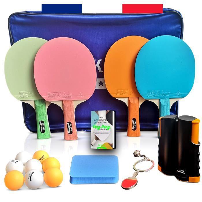 Raquettes de ping pong, 4 raquette de tennis de table professionnel, filet rétractable, 8 balles et sacoche de rangement