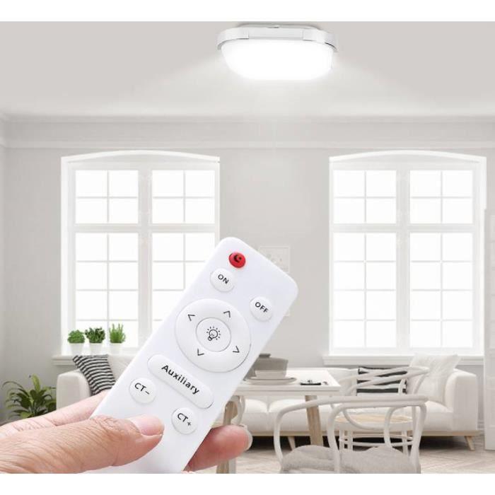 Plafonnier LED 18W, Lampe de Carré Plafonnier Design Moderne avec télécommande -LUS