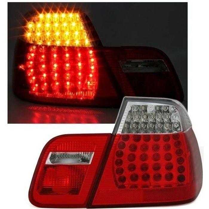 2 FEUX ARRIERE LED LOOK M3 POUR BMW SERIE 3 E46 BERLINE PHASE 1 DE 1998 A 09/2001