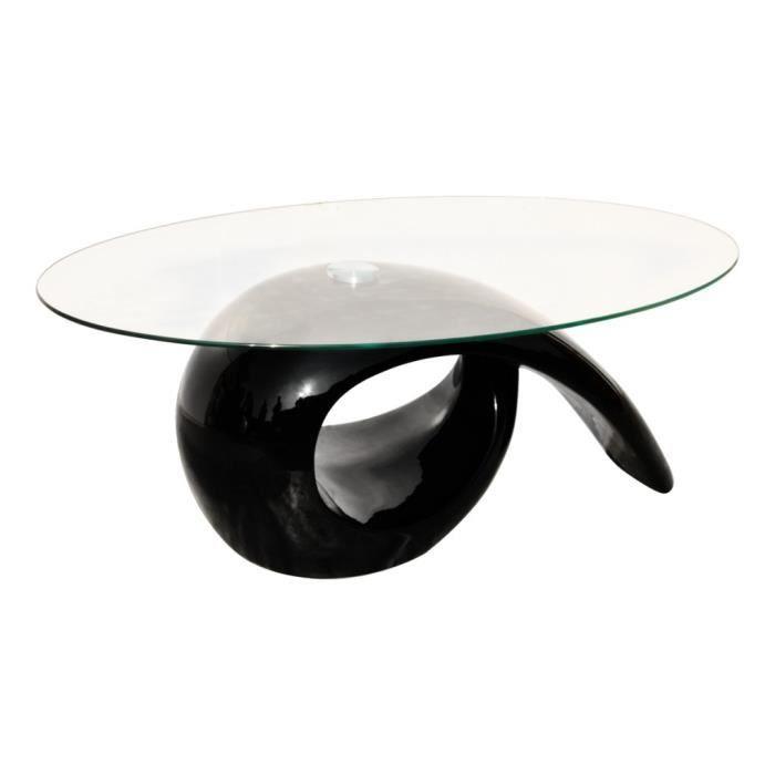 Magnifique Table basse brillante noire avec plateau en verre