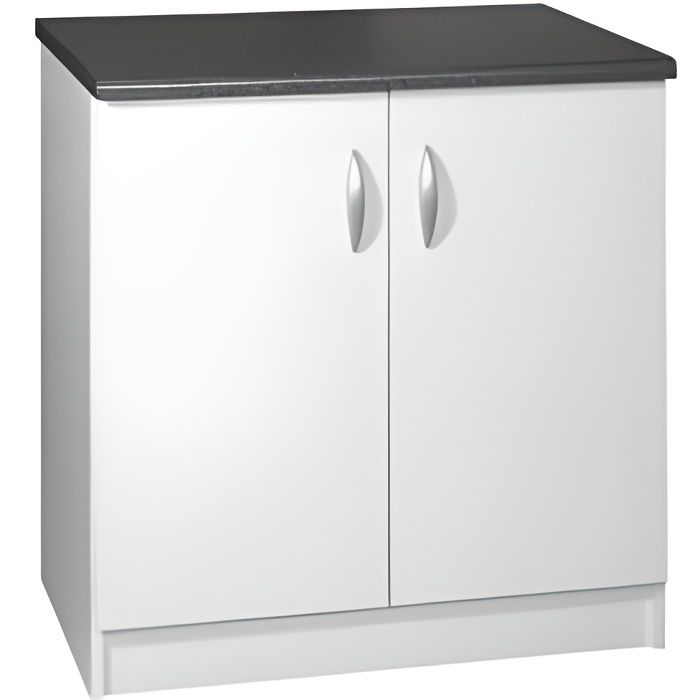 Meuble cuisine bas 80 cm 2 portes OXANE blanc