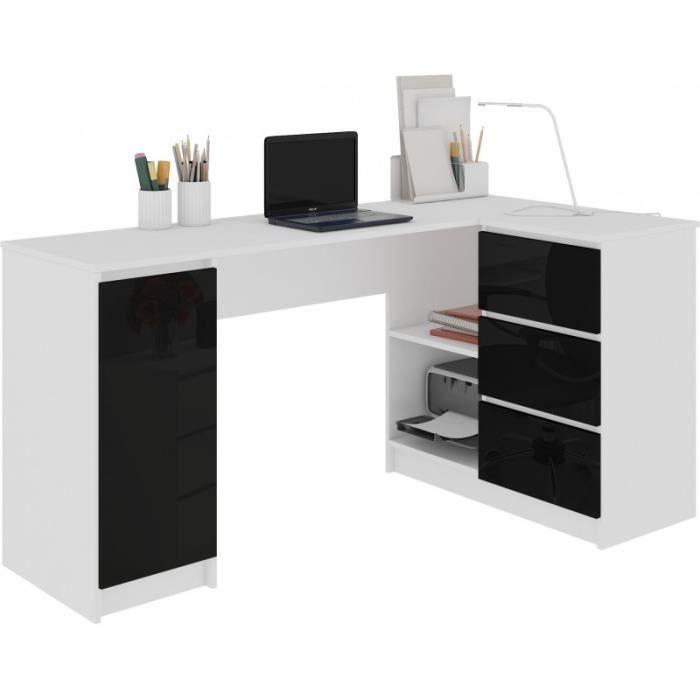 BALAUR - Bureau informatique d'angle moderne 155x85x77cm - 3 tiroirs gloss - Table ordinateur multi-rangements - Blanc/Noir laqué