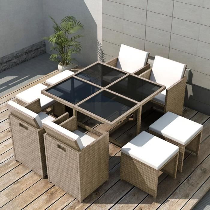 Salon de jardin encastrable avec coussins 9 pcs - Meuble de jardin Salon Bas De Jardin Rotin Beige Parfait #512087