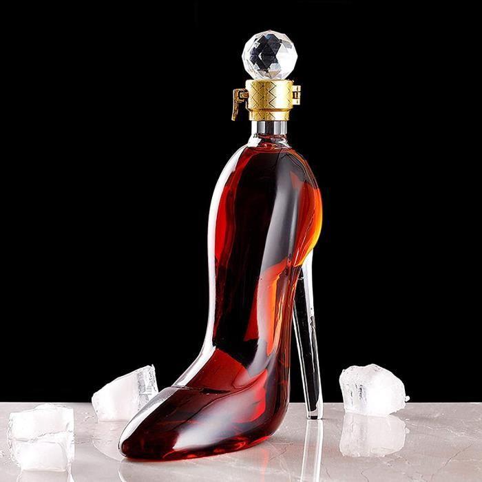Decanter Carafe agrave Whisky En Forme De Talons Hauts, Verre Coffret Vin En Cristal 350 - 750ml, Personnalise Bouteille Wiskies Cr