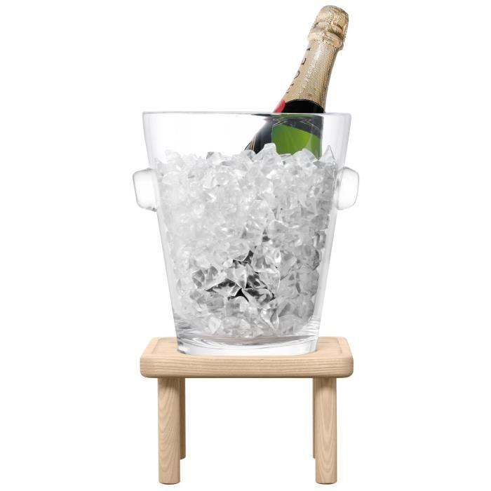 LSA International Seau à Champagne sur Pied et Repose-Pieds de 34 cm, frêne