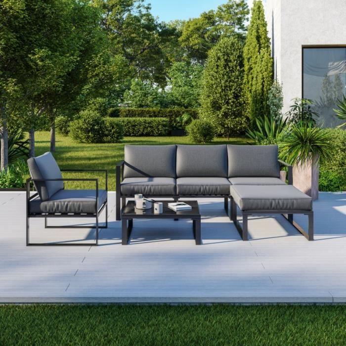 Salon de jardin angle design - 5 Places - ensemble de salon aluminium couleur Gris - VITO