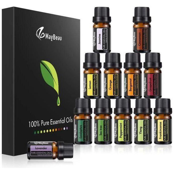 MayBeau 12pcs Huiles Essentielles coffret cadeau 10 ml de plantes aromatherapy de plantes naturelles pures