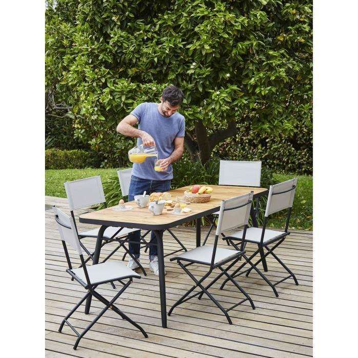 BOCARNEA Ensemble repas de jardin Babor - table pliable 176x80cm bois Acacia FSC + 6 Chaises pliables acier et textilène