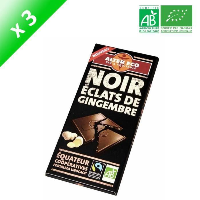 [LOT DE 3] Choc noir gingembre alt eco bio100g