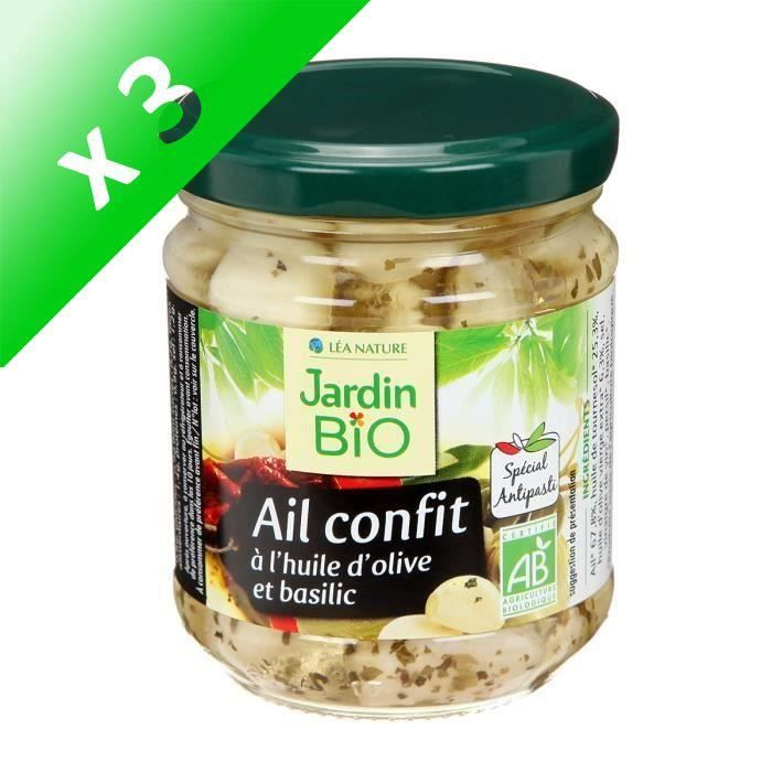 [LOT DE 3] JARDIN BIO Ail confit à l'huile d'olive et basilic bio - 190 g