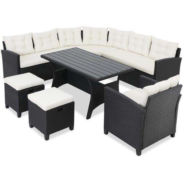 Salon de jardin lounge en polyrotin 9 personnes Canapé d'angle avec table tabouret fauteuil Mobilier de jardin extérieur