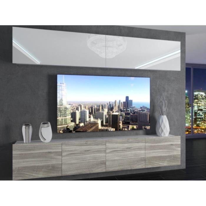 MORRIE - Ensemble meubles TV - Unité murale - Largeur 200cm - Mur TV à suspendre finition gloss - Blanc-Aspect bois