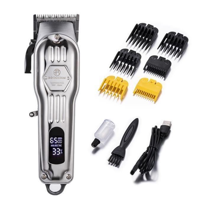 Tondeuse Cheveux et barbe Professionnelle Homme sans fil avec 8 Sabots de couleur et Ecran LCD Rechargeable coffret cadeau homme