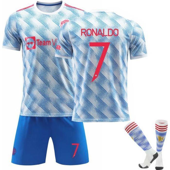 Maillot Football Junior 2021-2022 Ronaldo 7 Une Collection de Football UCL Extérieur Tenue + Chaussette Bleu pour Enfant