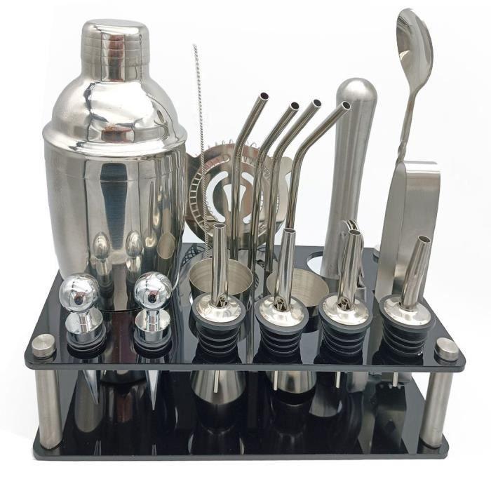 Kit de Fabrication de Cocktails Ensemble d'outils de Barre de Barman Shaker (19 pièces) en Acier Inoxydable brossé, 750ML