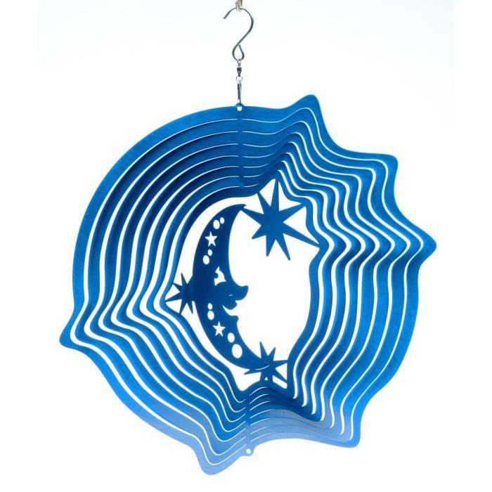 Mobile à vent Lune & Étoiles Bleu 15cm