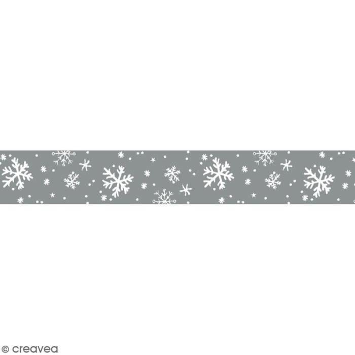 Masking tape Toga - Flocons de neige blancs et argentés - 1,5 cm x 10 m