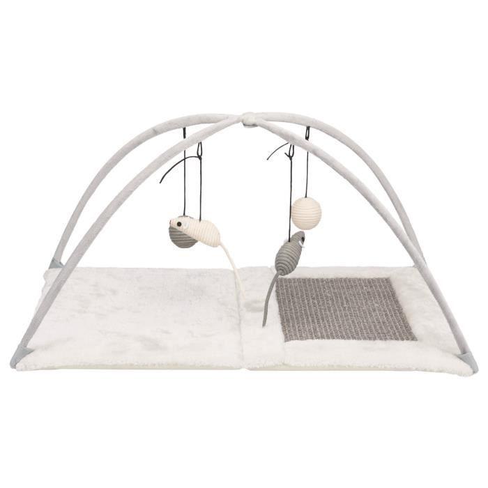 TRIXIE Tapis griffoir - 60 x 33 x 42 cm - Avec jouets suspendus à un fil - Gris clair - Pour chat