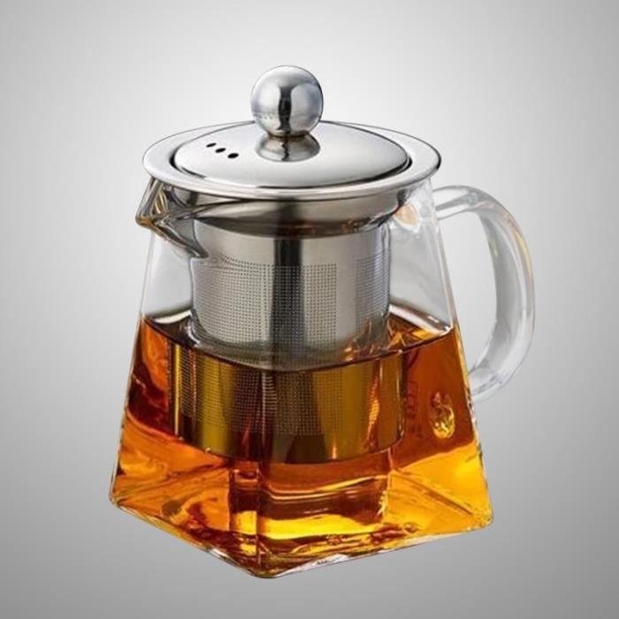 Crépine de filtre en acier inoxydable théière en verre transparent résistant à la chaleur pour thé Oolong au jasmin en vrac THE