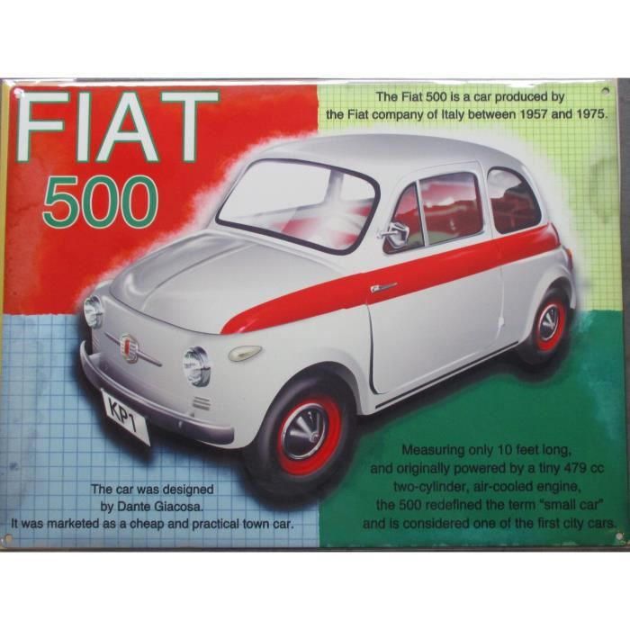 Plaque pub fiat 500 blanche rouge affiche metal achat for Decoration murale fiat 500