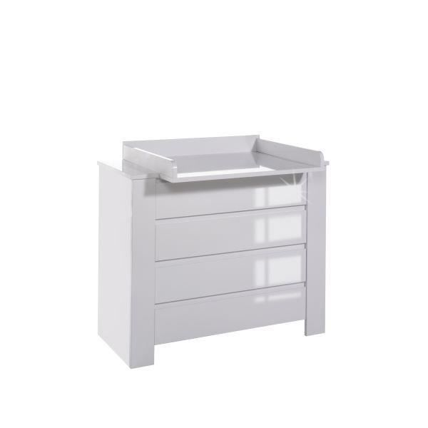 Commode langer extra large cubique laqu blanc b achat - Commode table a langer bebe kitty blanc ...
