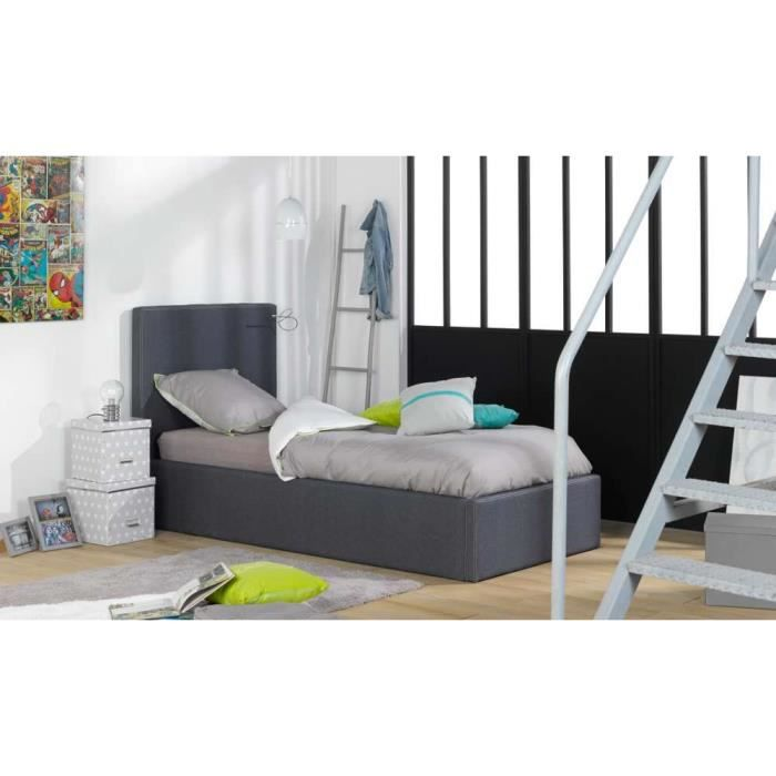 lit coffre 140x200 san francisco bleu achat vente. Black Bedroom Furniture Sets. Home Design Ideas