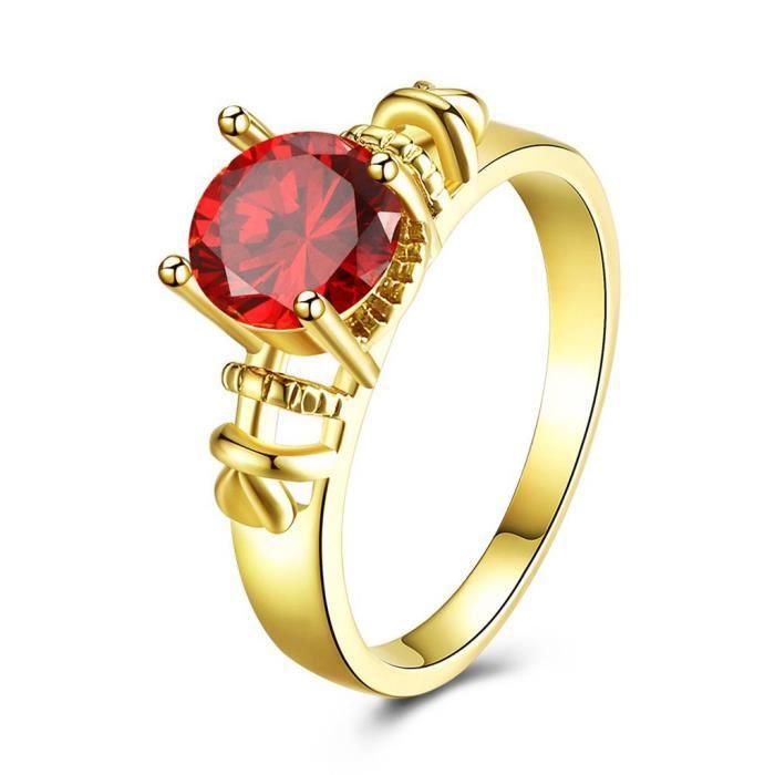 Cadeaux Rouge Bijoux Femmes Meilleur Qualité Or Jaune Plaqué Or Rose Zircon Ring