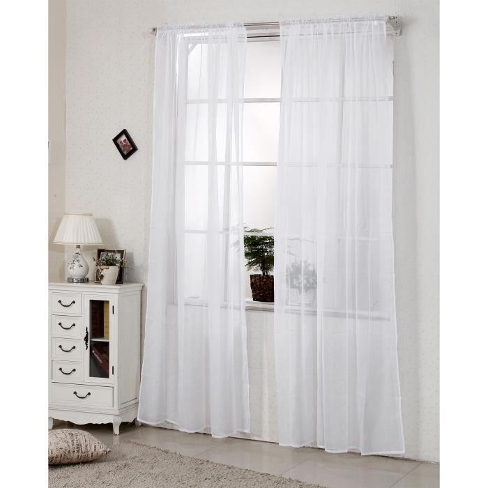 RIDEAU WOLTU Lot de 2 rideaux transparent,rideaux voilage