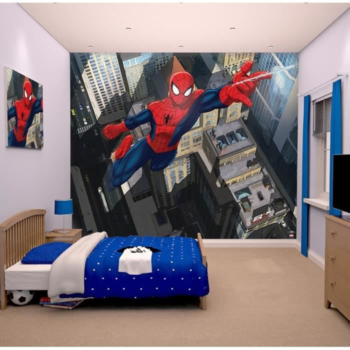 Stickers spiderman papier peint enfant fresque murale décor
