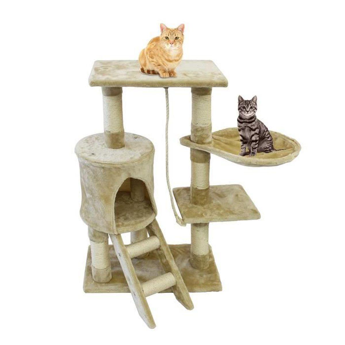 Comment Fabriquer Un Arbre À Chat perchoir pour chat, arbre à chat, 90 cm, 4 plateformes, beige, matériau: mdf