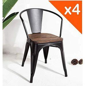 CHAISE KOSMI - Lot de 4 chaises en métal Noir et Bois fon