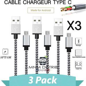 CÂBLE TÉLÉPHONE MNM DISTRIB© Lot de 3 Câble chargeur USB Type C ar