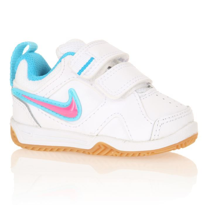 nike baskets lykin 11 tdv b b fille blanc bleu et rose. Black Bedroom Furniture Sets. Home Design Ideas
