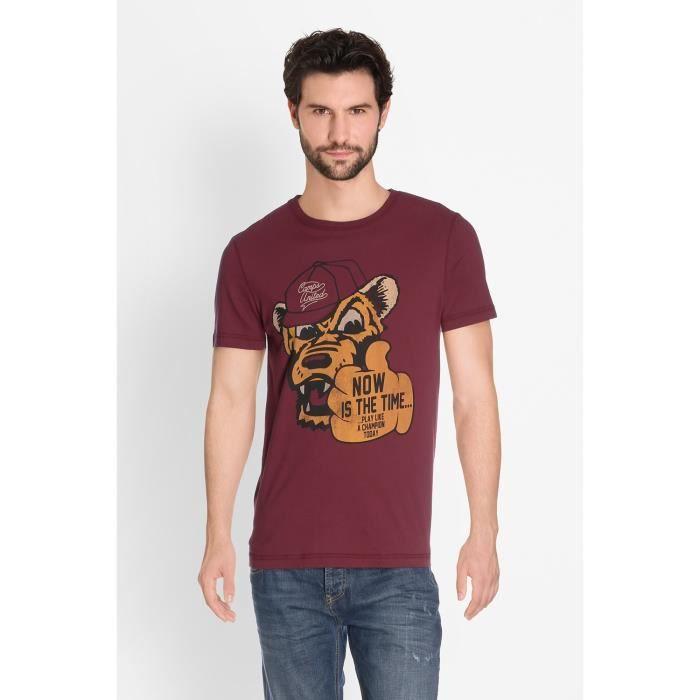 CAMPS T-shirt Manches Courtes - Homme - Rouge bordeaux