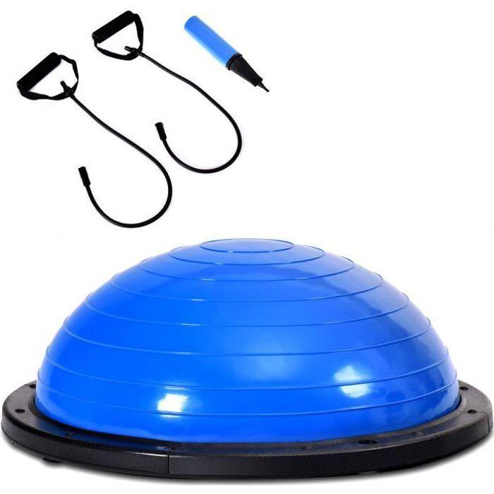 COSTWAY Balance Traîner Ø 59CM Ballon d'Exercice l'Equilibre du Corps Flexibilité avec Cables de Resistance 80cm en PVC Bleu