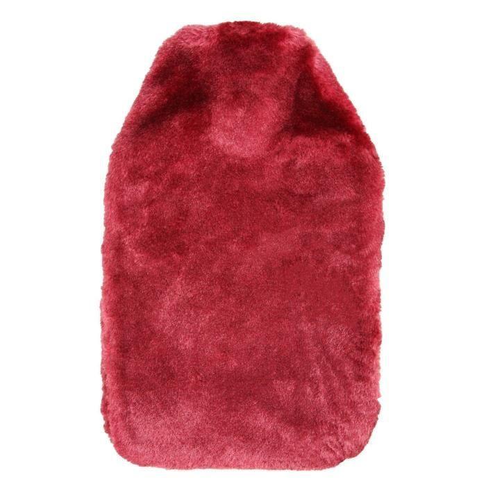 Bouillotte de luxe douce en fausse fourrure confortable Tissu eau chaude couverture seulement - pour 2L (Bourgogne)