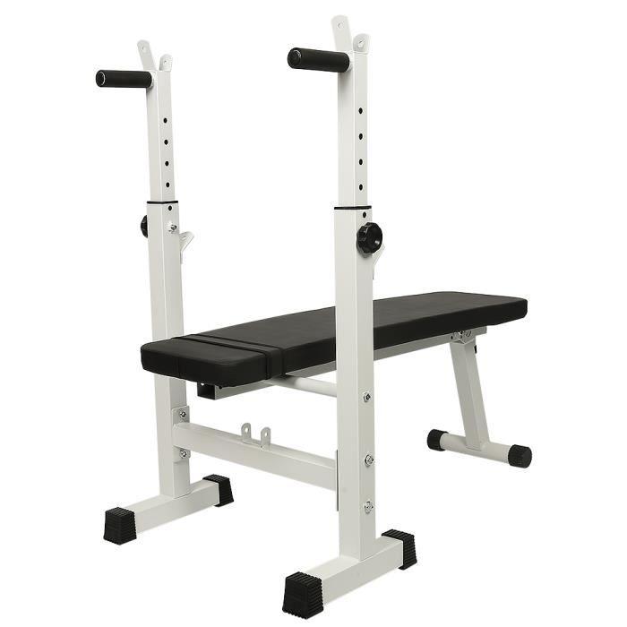 FIRNOSE Banc de Musculation Pliable Hauteur Réglable, Support pour Haltère(Sans haltères),POUR Débutants/Professionnels - Noir/Blanc