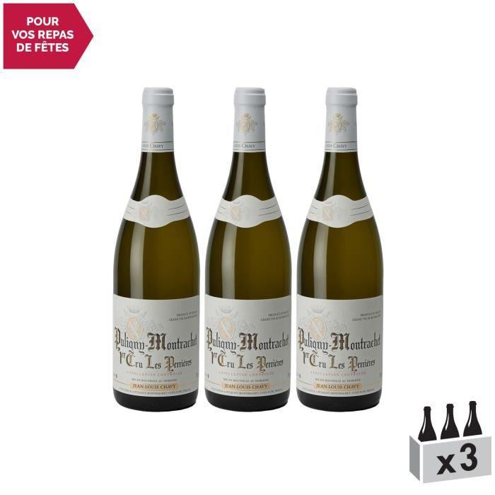 Puligny-Montrachet 1er Cru Les Perrières Blanc 2018 - Lot de 3x75cl - Domaine Jean-Louis Chavy - Vin AOC Blanc de Bourgogne -