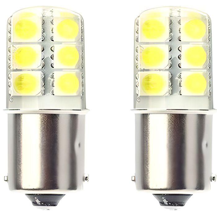Ampoule P21W LED BA15S COB Extra Blanc 6000K Veilleuses Feux de jour phares 2pcs