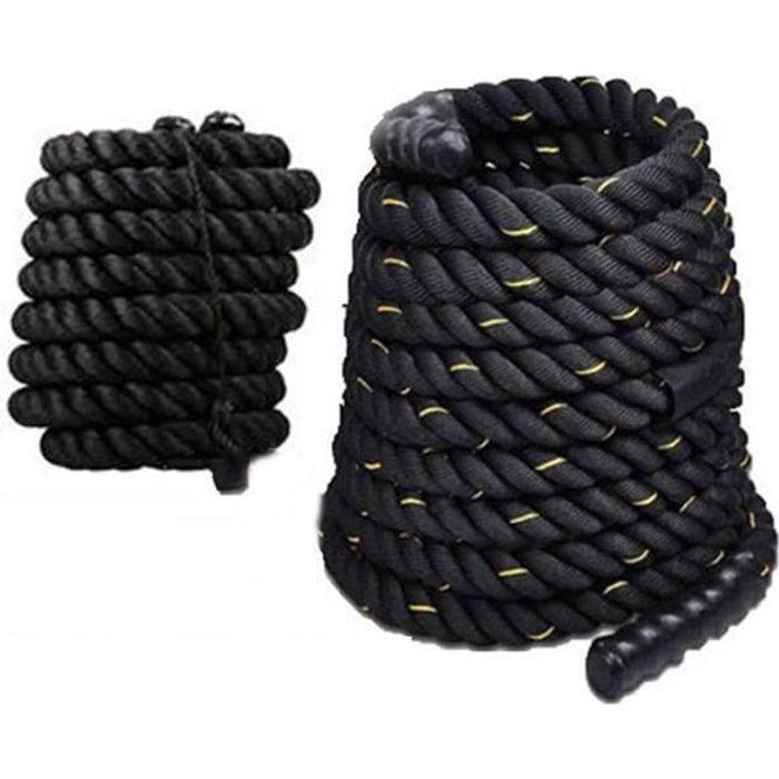 Noir Or Corde de Bataille – Corde Ondulatoire pour Musculation, Formation & Fitness (38MM)