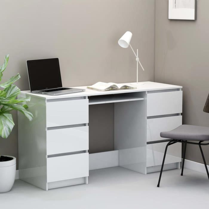 Bureau d'Ordinateur Table de Bureau à Domicile Station de Travail contemporain Blanc brillant 140x50x77 cm Aggloméré