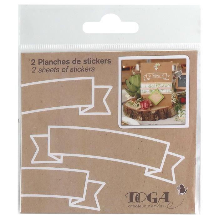 Embellissements pour scrapbooking D.I.Y with Toga STY301, Lot de 2 Planches de Stickers, Autre, Multicolore, 10 x 10 x 25354