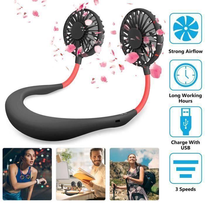 Petit Ventilateur Cou Portable, Mini Ventilateur Serre-Nuque USB Rechargeable pour Conduite, Travail, Activités en Plein Air-Noir