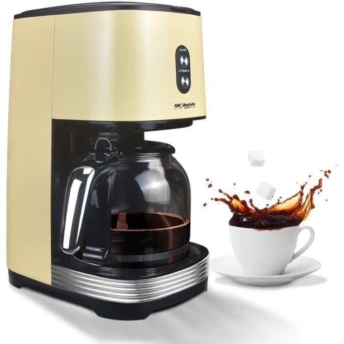Cafetière à filtre rétro avec filtre permanent, jusqu'à 12 tasses, Cafetière rétro avec verre de 1,5 l, plaque de maintien au chaud