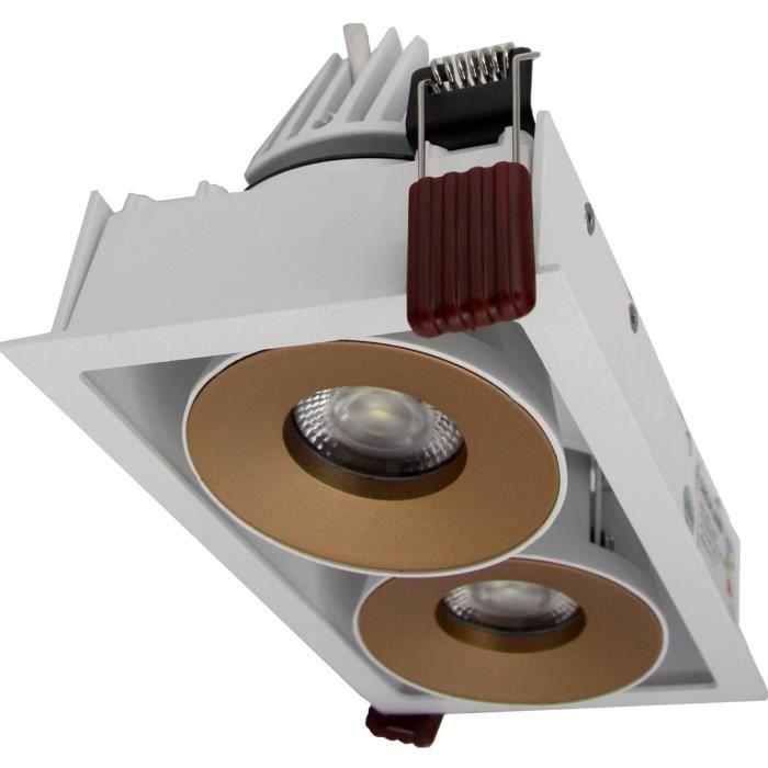 Double Spot LED Encastrable 2x9W COB 120° Dimmable Rectangle BLANC/DORE - Blanc Neutre 4200k - 5500k Silumen