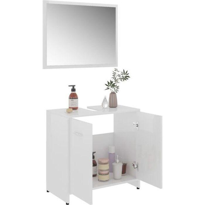 SWT Ensemble de meubles de salle de bain Blanc brillant Aggloméré 80