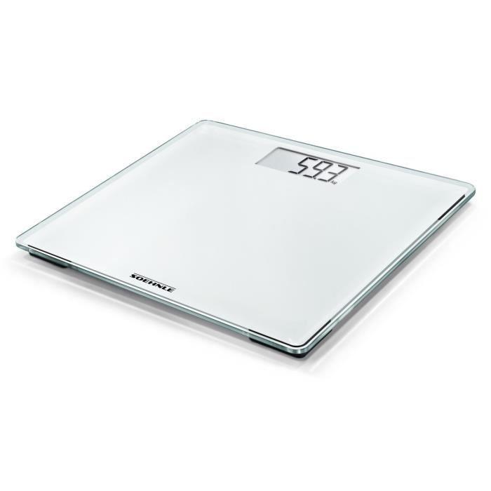 Soehnle 63851 Style Sense Compact 200 Pèse-personne numérique Plastique Blanc 31,5 x 30,5 x 3,5 cm