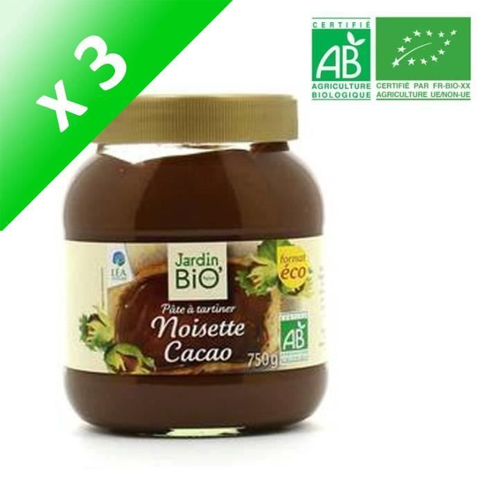 [LOT DE 3] JARDIN BIO Pâte à tartiner noisette cacao bio - 750g